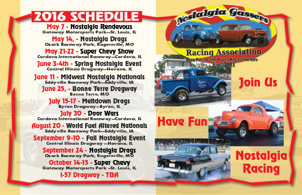 2016 Nostalgia Gassers Racing Association Events